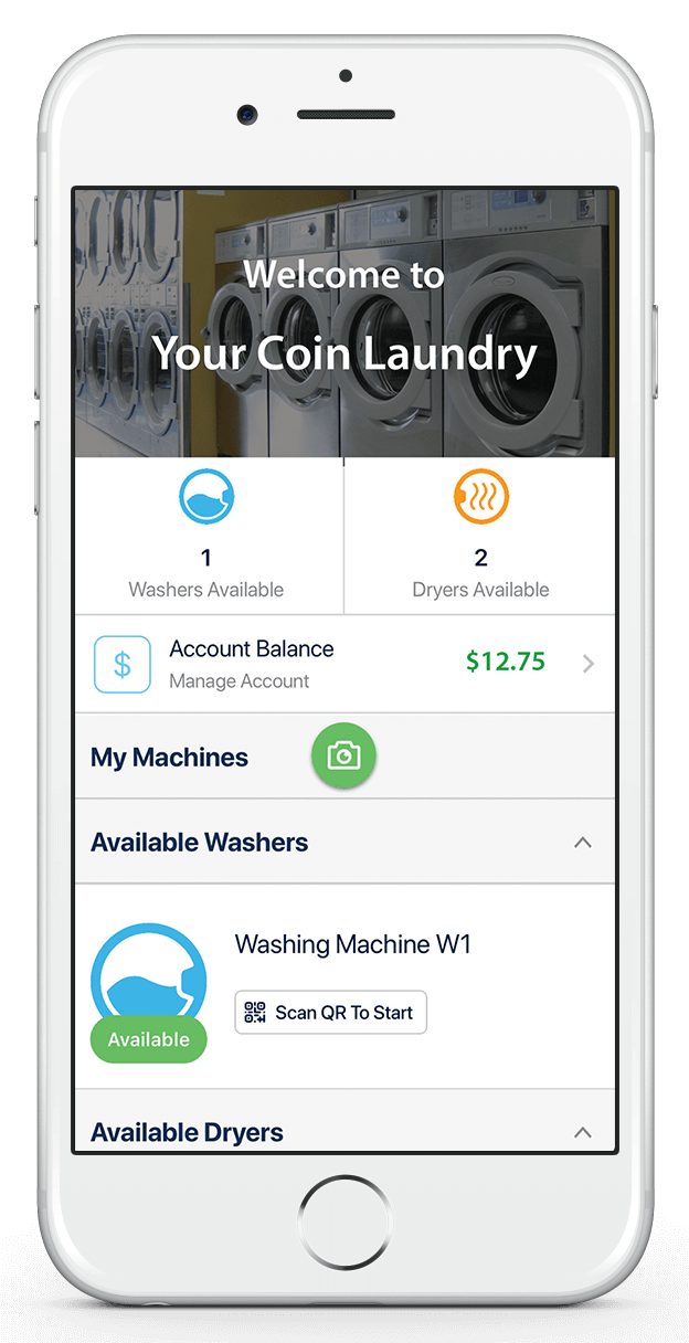LaundryPay app user dashboard for easy laundromat machine payment.