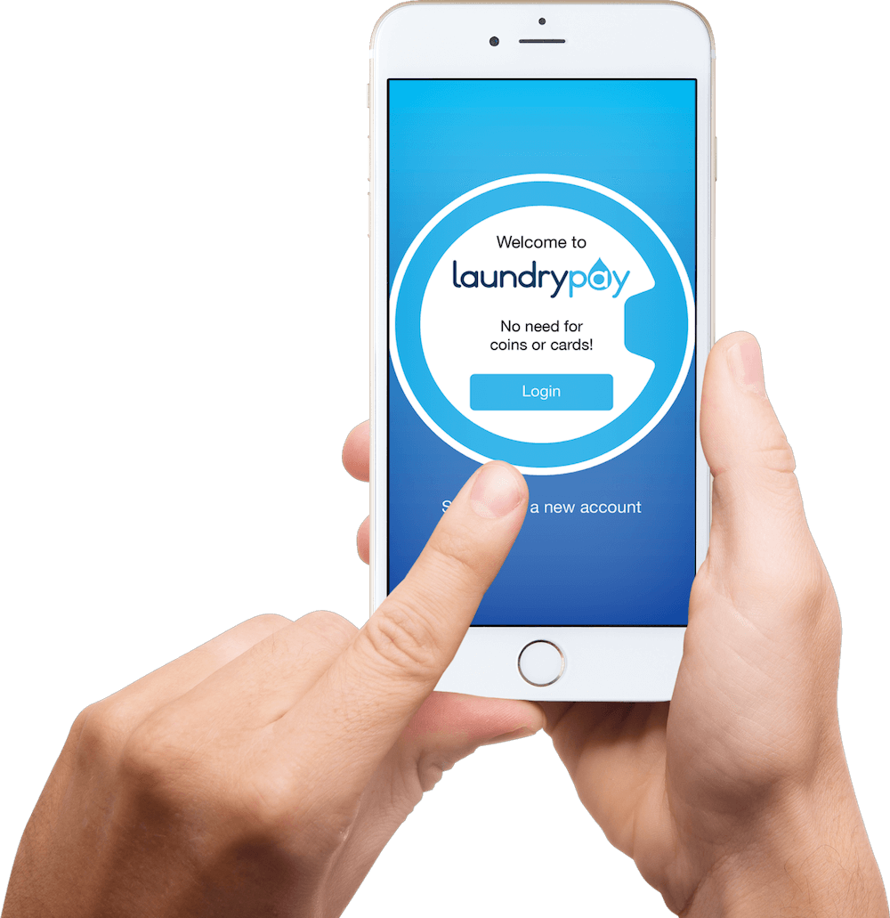 LaundryPay app smartphone login for easy laundromat machine payment.