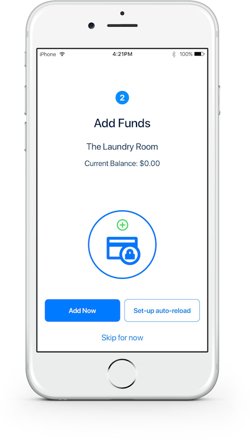Smartphone view of the LaundryApp app screen where users can add funds to their mobile wallet.