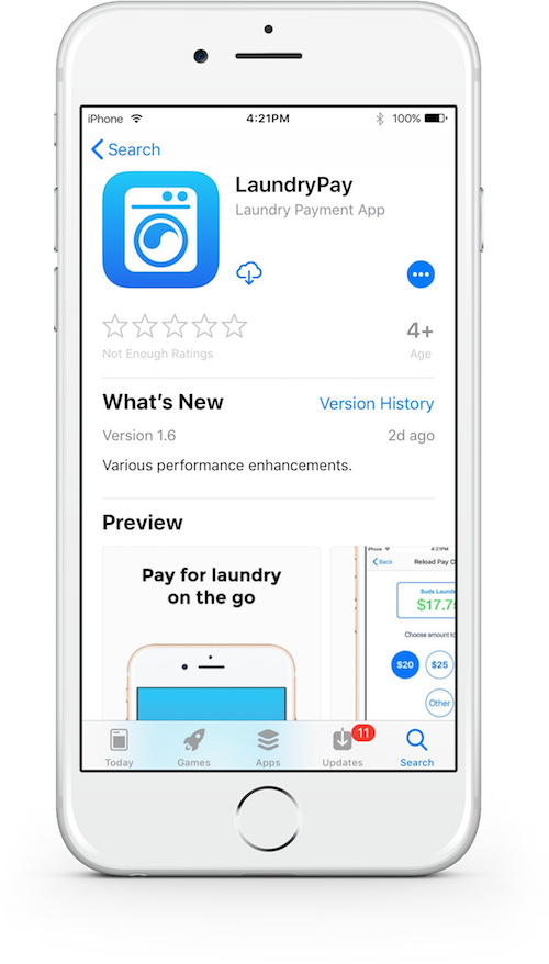 Smartphone view of the LaundryApp app available for download the mobile app store.
