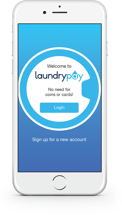 Smartphone view of the LaundryApp app login screen.