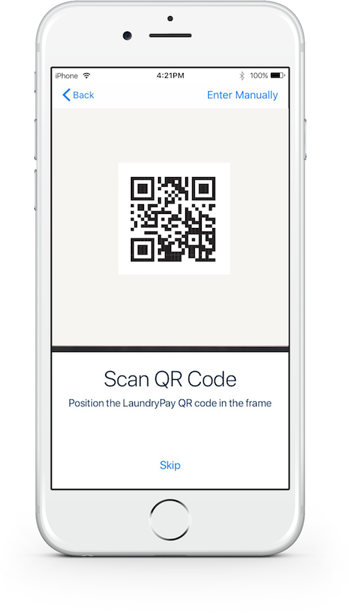 Smartphone view of the LaundryApp app QR code scanner.